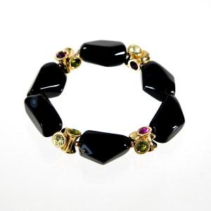Bracelet onyx noir et perles strassées.
