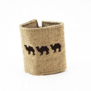 """Rond de serviette en lin  """"chameau"""".LOT DE 6"""