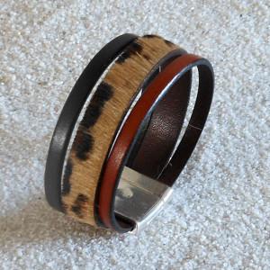 Bracelet en cuir poil léopard et cuir brun et noir