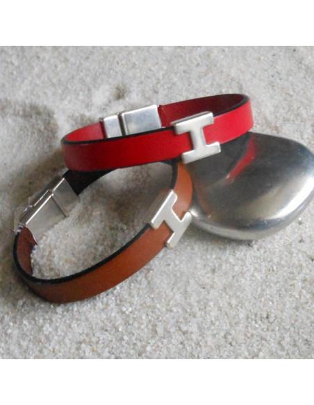 Bracelet cuir avec passant H en argent plaqué