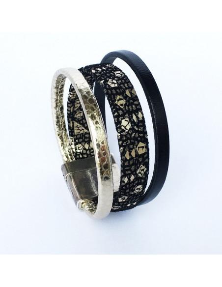 Bracelet cuir noir pailleté or avec lanières cuir doré et noir