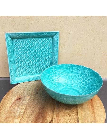 Saladier rond en métal turquoise avec motifs tons sur tons