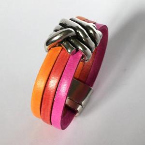 Bracelet cuir tricolore avec noeud plaqué argent