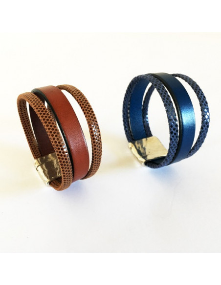 Bracelet cuir bleu ou marron
