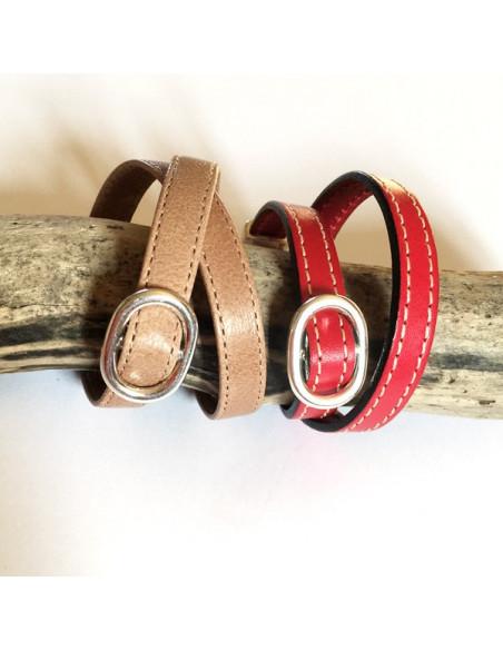 Bracelet cuir cousu double tour avec maille marine plaqué argent