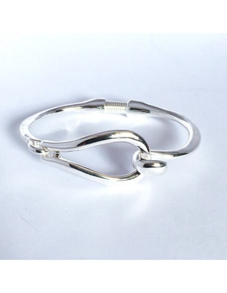 Bracelet jonc boucle fermoir crochet en métal argenté