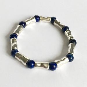 Bracelet pierre lapis lazuli et plaqué argent