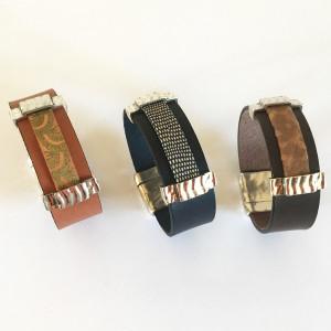 Bracelet manchette cuir avec lanière superposée