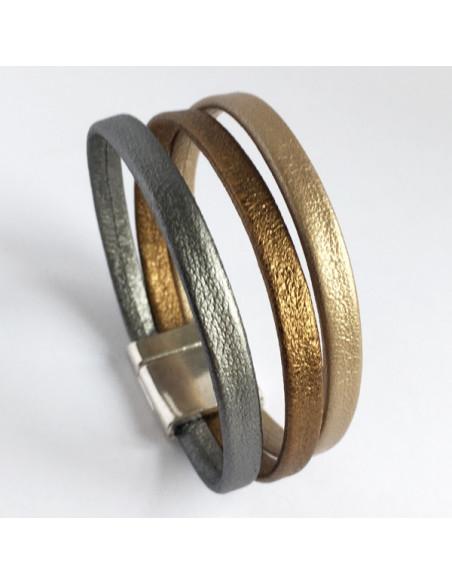 Bracelet 3 liens cuir or,bronze et or mat sur fermoir magnétique