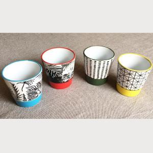 Gobelets à café avec motifs - Lot de 4