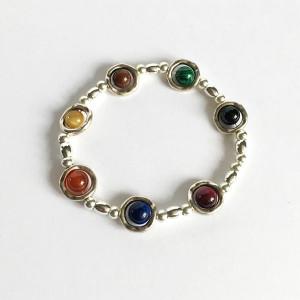 Bracelet pierres fines et perles plaqué argent