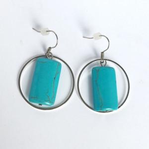 Boucles d'oreilles turquoise et cercle métal argenté