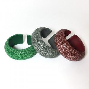 Bracelet jonc en Galuchat-Large