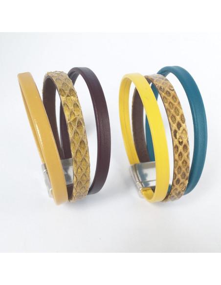 Bracelet cuir motif reptile jaune et cuir couleur sur fermoir plaqué argent