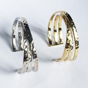 Bracelet martelé Massai plaqué argent rhodié ou laiton plaqué or