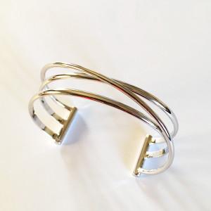 Bracelet manchette ouvert métal argenté