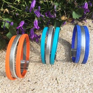 Bracelet cuir couleur et argenté sur fermoir magnétique