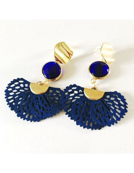 Boucles d'oreilles plaqué or et bleu nuit