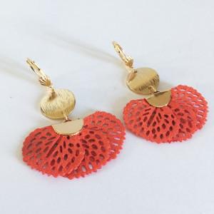 Boucles d'oreilles laiton doré et textile orange