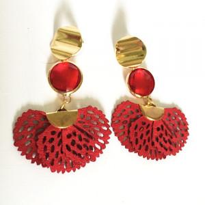 Boucles d'oreilles laiton doré et rouge