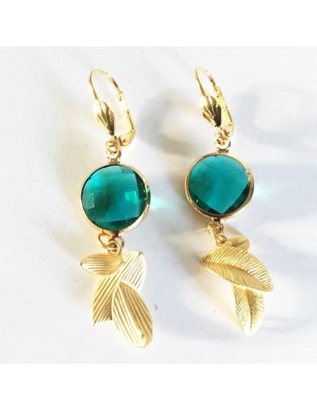 Boucles d'oreilles verre facété vert et feuilles laiton doré