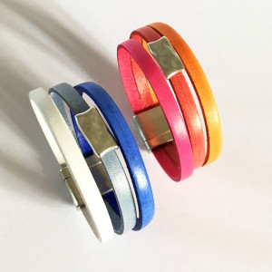 Bracelet cuir avec passant martelé