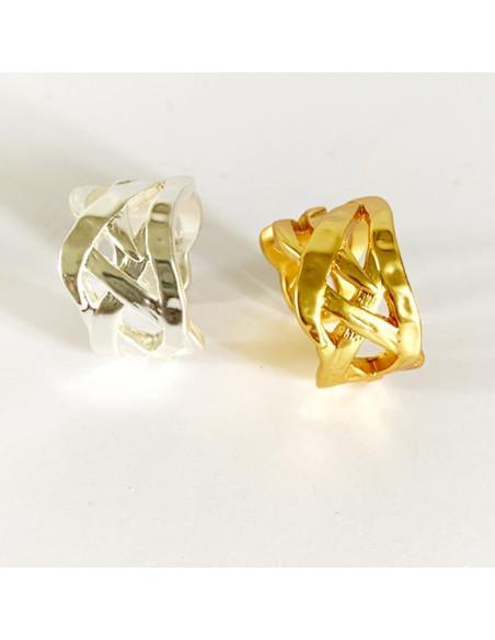 Bague design tressé, argentée ou dorée