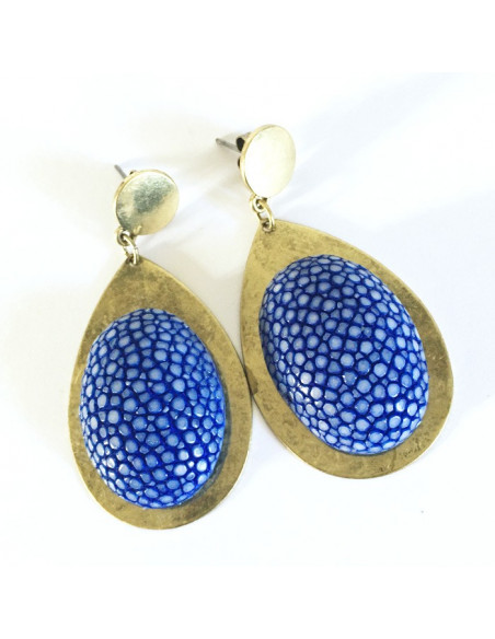 Boucles d'oreilles cabochon galuchat bleu et métal bronze
