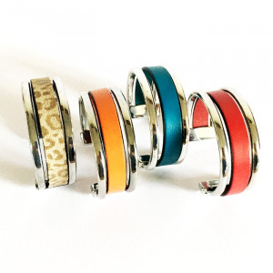 Bracelet manchette métal argenté et cuir