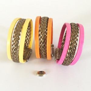 Bracelet cuir tressé doré et cuir couleur
