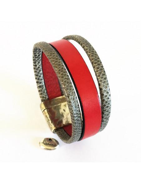 Bracelet manchette cuir rouge et cuir gris