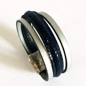 Bracelet cuir bleu et gris argenté