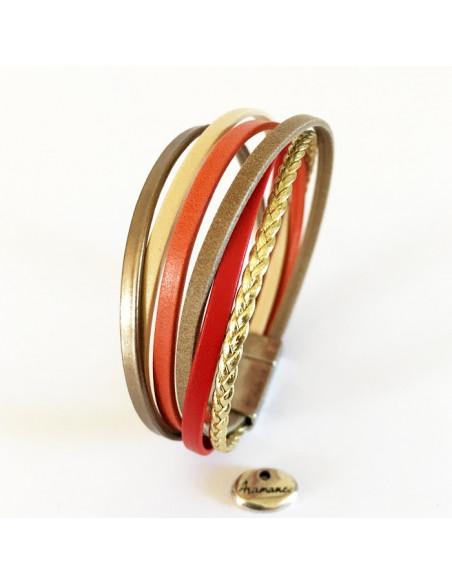 Bracelet multilien cuir rouge,corail et or