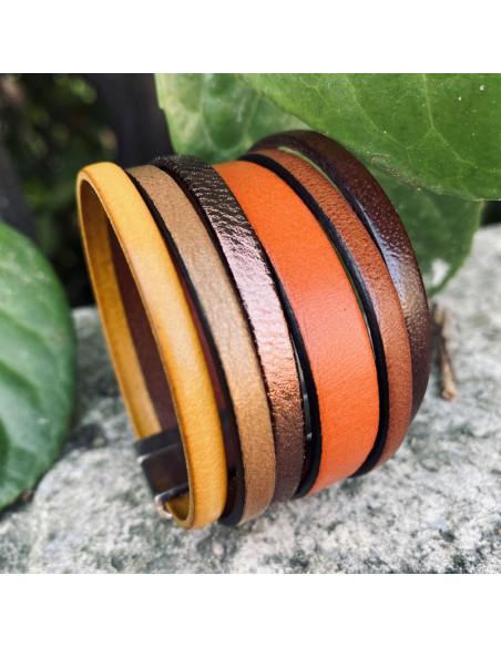 Bracelet manchette cuir couleurs automne