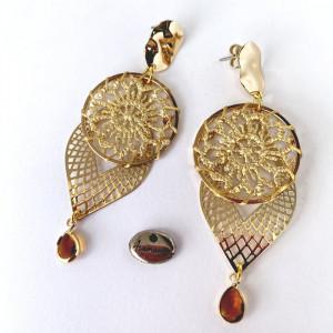 Boucles d'oreilles filigrane et cercle crochet doré