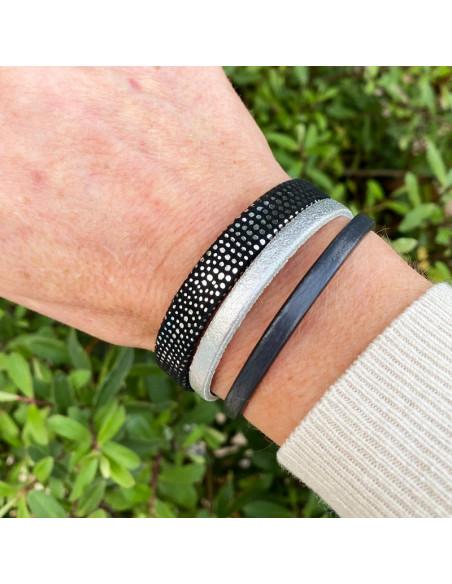 Bracelet manchette cuir gris,noir et argenté